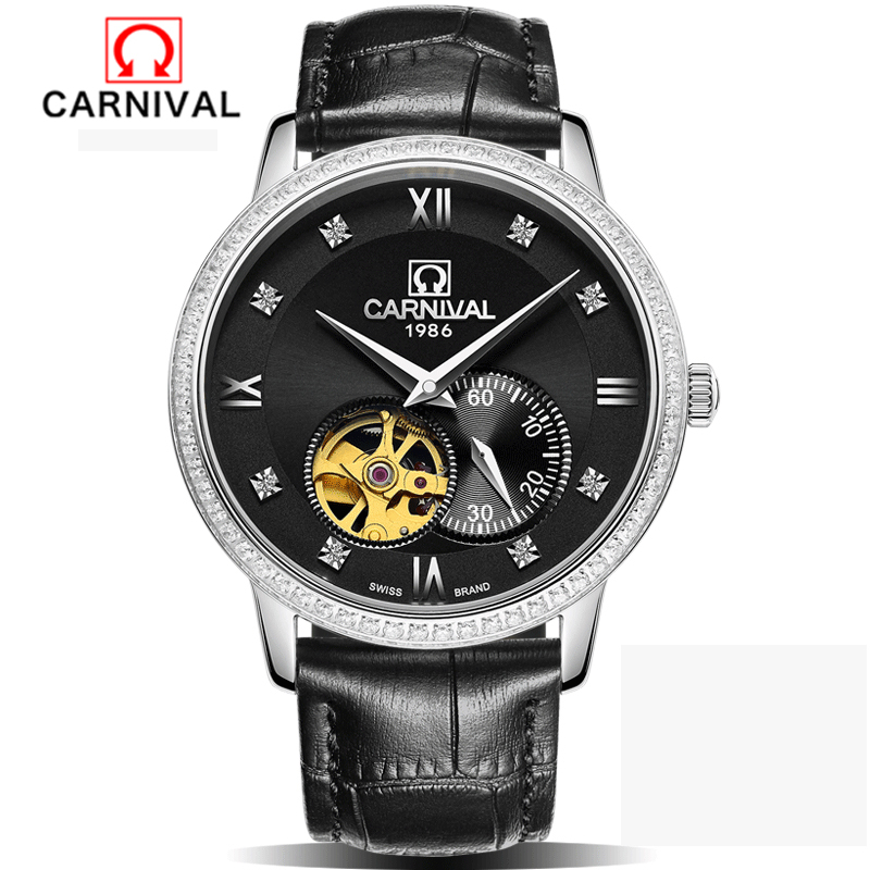 Carnival Top Brand Luxury Automatic Watch Black Skeleton Designer Blue Engraving Clock Men Leather Strap Mens Watches Montre Hom mens mechanical watches top brand luxury watch fashion design black golden watches leather strap skeleton watch with gift box