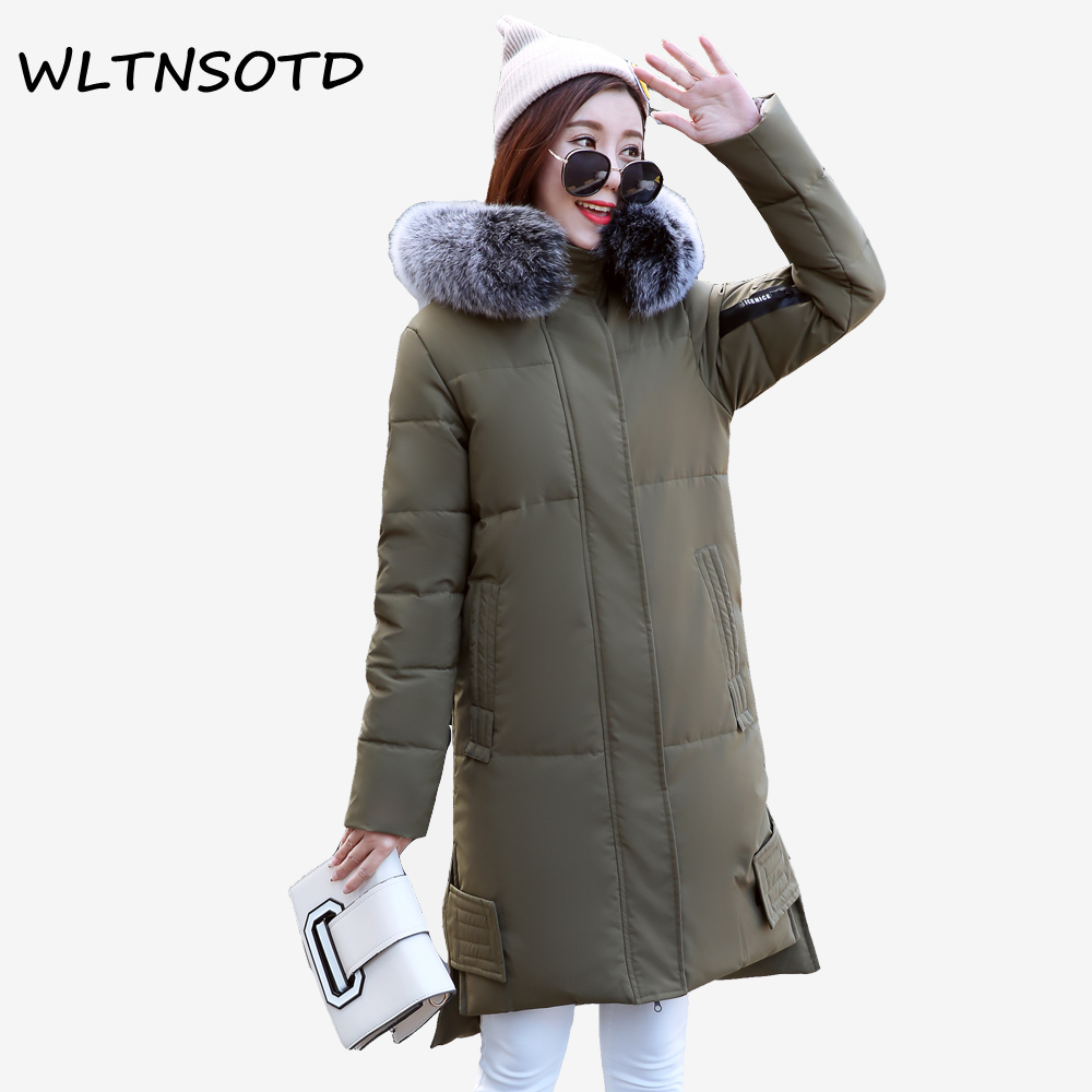 2017 women new winter cotton coat long thick Hooded Slim Big Fur collar jacket Female fashion Hem irregular Solid warm Parkas 2017 winter new cotton coat women slim long hooded thick jacket female fashion warm big fur collar solid hem bifurcation parkas