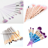 Unicorn Makeup Brushes 10 Pcs Professional Synthetic Fiber Rose Gold Colorfull Powder Eyeshadow Makeup Brush Kits