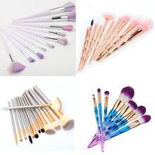 Unicorn Makeup Brushes 10 pcs Professional Synthetic Fiber Rose Gold Colorfull Powder Eyeshadow Makeup Brush kits New Arrival