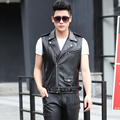 2017 Spring Short Design Male Leather Vest Leather Vest Slim Motorcycle Zipper Leather Jacket Outerwear Male