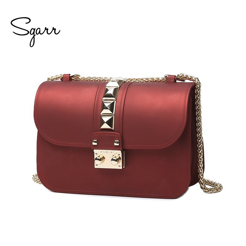 SGARR High Quality Fashion PVC Women Rivet Crossbody Bag Famous Designer Small Chain Candy Color Female Shoulder Messenager Bag 2017 fashion new handbags sweet lady candy color plush small round bag high quality soft cute shoulder bag chain messenger bag