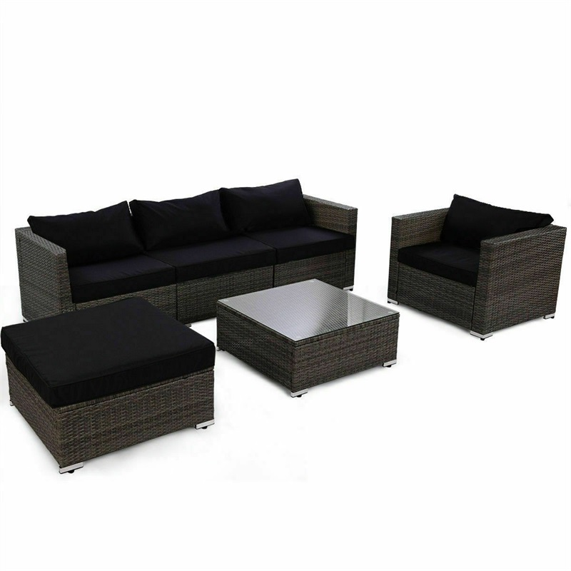 Strong Steel Frame Rattan Wicker Patio Sofa Set With Black Cushion Soft Sponge Padded Tempered Glass Outdoor Furniture HW60374+