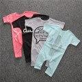 Crianças de verão 2016 do bebê Recém-nascido menina Romper do bebê meninos roupas casuais Letras impressas algodão roupa do bebê