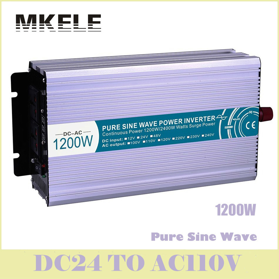 цена на Inverter MKP1200-241 1200w Pure Sine Wave Power 24vdc To 110vac Voltage Converter Solar Digital Display China