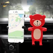 KISSCASE Car Holder For iPhone 6 6s 7 8 Plus X XS Cute Cartoon Bear Air Vent Mount Car Phone Holder For Samsung S6 Huawei Xiaomi