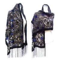 New Euro Hot Silver Lucidum Vintage Scarf Women Burnout Velvet Winter Wrap Shawl Muslim Wrap Pashmina