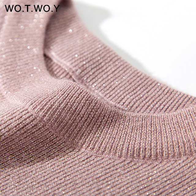 WOTWOY Shiny Lurex Autumn Winter Sweater Women Long Sleeve Pullover Women Basic Sweaters Women 2018 Korean Style Knit Tops Femme