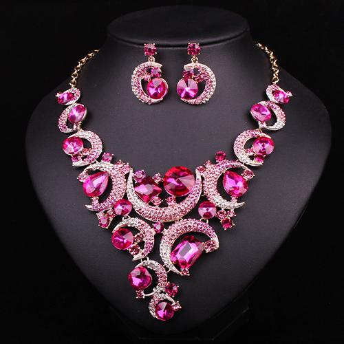 Fashion Pink Crystal Gold Color Necklace Earrings Jewelry Sets Bridal Wedding Accessories Party Prom Jewellery Gift