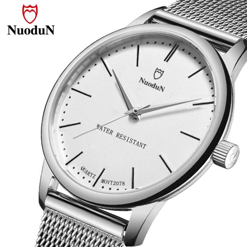 2018 Nuodun Watch Men Women Lovers Wristwatch Stainless Steel Couple Mesh Strap Quartz Watches Simple Fashion Clock Relogio