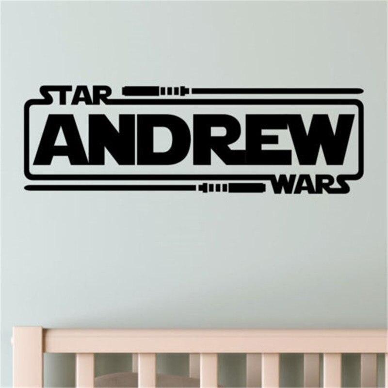 2018 offre spéciale Adesivo De Parede personnalisé nom personnalisé Star Wars garçons enfants maison Stickers muraux Stickers vinyle dortoir # m236