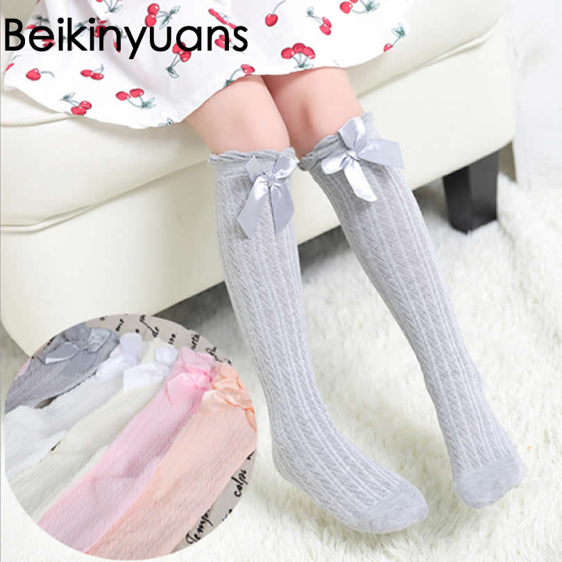 Lace Socks Baby Girls Winter Solid Warm Knee High Socks With Bows Princess Cute Long Tube Kids Booties Vertical Striped Sock