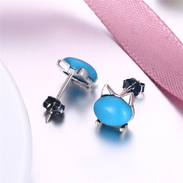 Vintage Cat Head With Natural Stone Stud Earrings Fashion Real 925 Sterling Silver Earring Blue