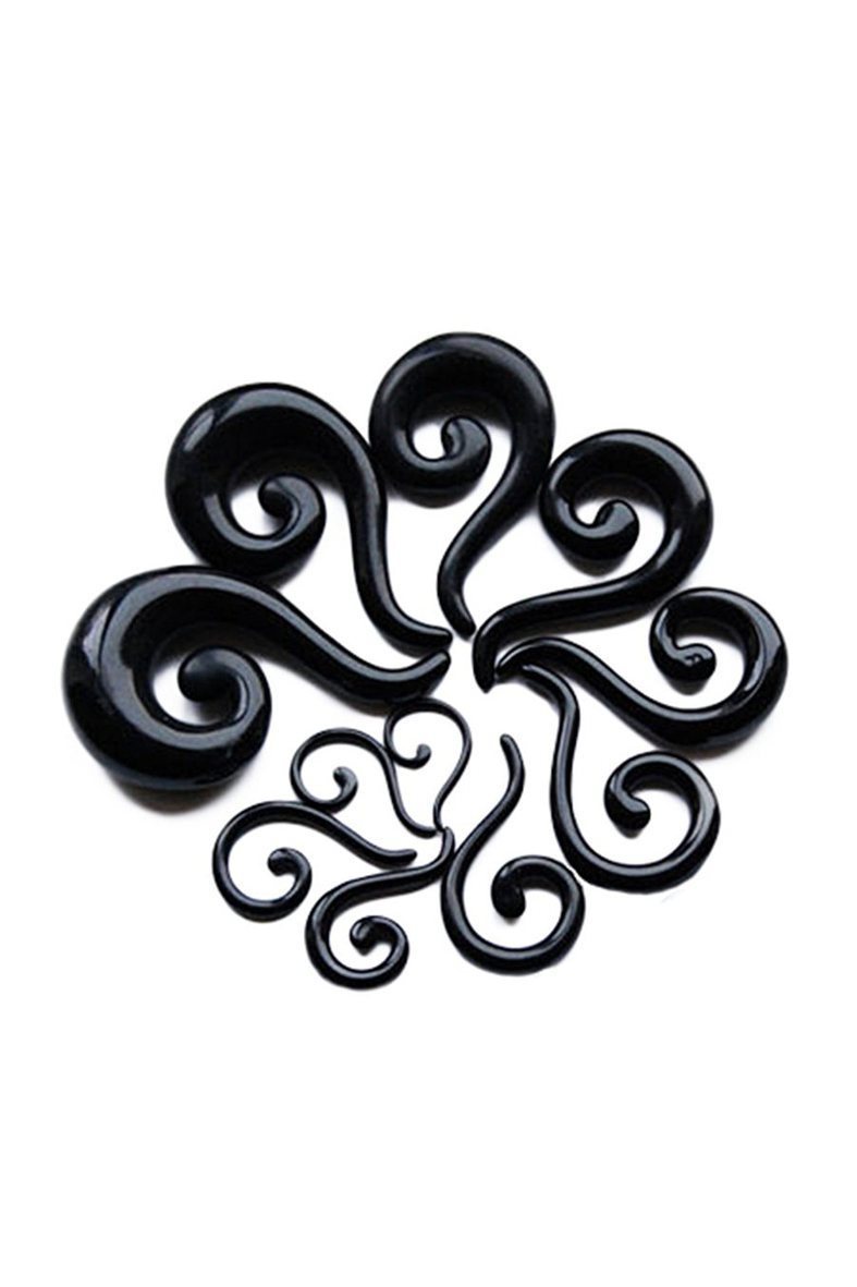 2mm Black Acrylic Spiral Taper Flesh Tunnel Ear Stretcher Expander Questions Mark Design Earrings