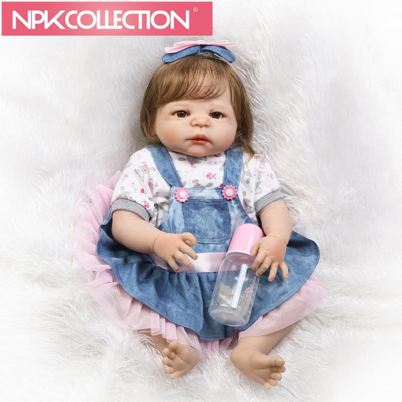 23 Full Body Silicone Reborn Baby girl Doll Toys smooth fiber hair rooted bebe alive reborn bonecas kids gift doll toys N123-4 2018 new arrive girls halloween dress handmade children costume clothing for 2 12 years kids birthday party princess dresses