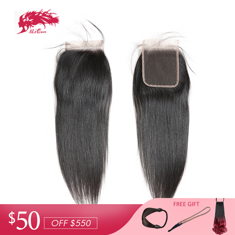 Ali Queen Hair Product Brazilian Straight Human Hair Closure 10Pcs lot 4x4 Lace Closure Free Part
