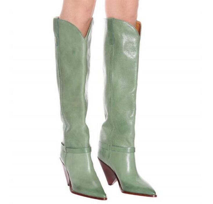 Популярные Модные пикантные сапоги до колена из спилка зеленого цвета обувь с острым носком без застежки женские сапоги в необычном стиле с