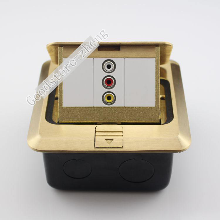 Bronze Pop-up Floor Box Kit ,Single AV 3RCA Jack Socket Panel Ground Outlet Port Home Plug Adapter Receptacle 120mm 10pcs rca av 180 degree audio jack socket receptacle connector yellow