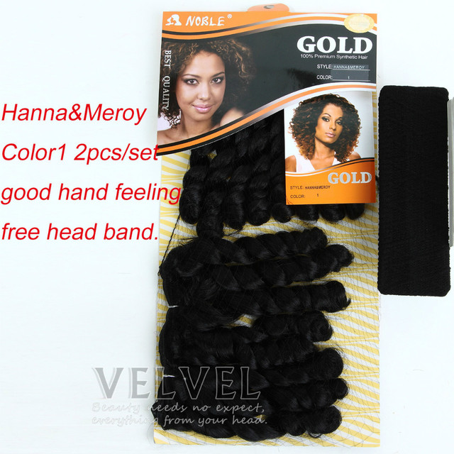 "1PC+Free Shipping Hair Band For Free Noble Gold Hanna&Meroy 2pcs/set Synthetic Hair Extensions Hair Weaving 10"" Ombre Colors"