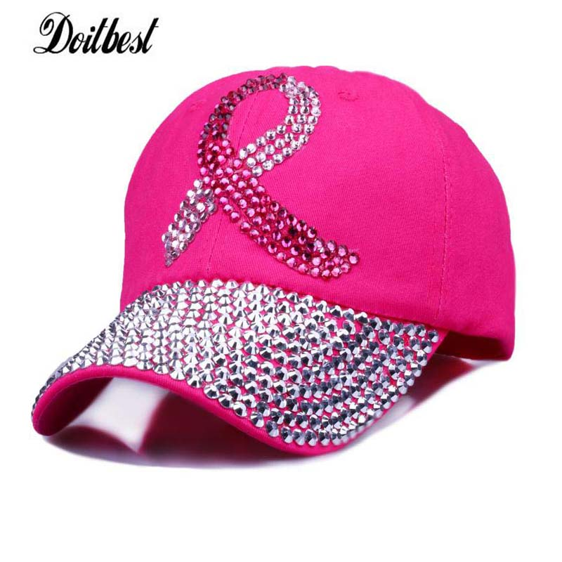 New Fashion Health Care For Women Breast Denim Cotton Rhinestone Hat Baseball Cap With Pink Ribbon Diamante caps breast cancer home care screening device health care product for women private part