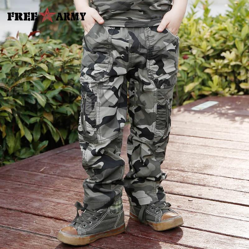 Yeni bahar pambıq kamuflyaj şalvar oğlanlar hərbi uşaqlar - Uşaq geyimləri - Fotoqrafiya 4
