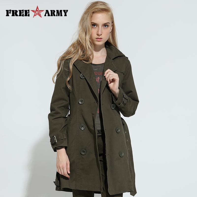 2016 Autumn Fashion Long   Trench   Brand Women Coat Spring Coats Casual Cotton Army Green   Trench   Womens Outerwear GS76366