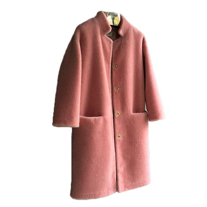 Des 5 Peluche Design En 1 De Pink Peau Beige Nouveau Light Col Femmes 6 Montant Manteau 4 2 Tonte Hiver Grey Réel Black Cisaillé Avec Fourrure Mouton Camel Moutons Veste Green 3 0vWfzWqH
