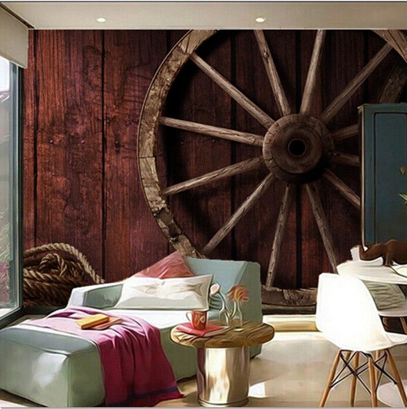 Пользовательские 3D фрески, ретро 3D фрески, дерево и колеса Papel де Parede, гостиная Т ...