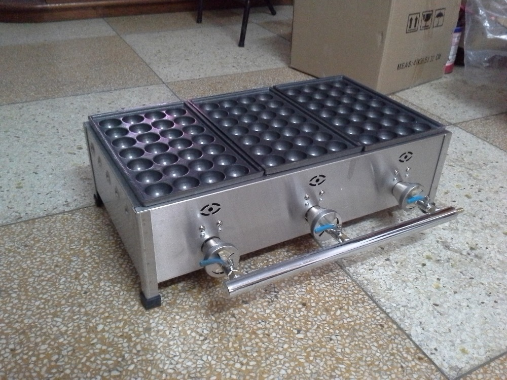 free shipping Gas 3 plates Takoyaki making machine Fish ball maker Takoyaki maker