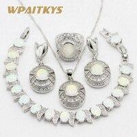 925 Sterling Silver Jewelry Sets Australia White Fire Opal For Women Bracelet Necklace Pendant Earrings Rings Gift Box