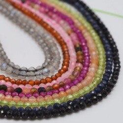Natürliche Semi Precious Stein Kleine Faceted Runde Perlen 2 ~ 2,5mm Spinell, Turmalin, Rubin, Saphir, granat, Braun Rutilquarz