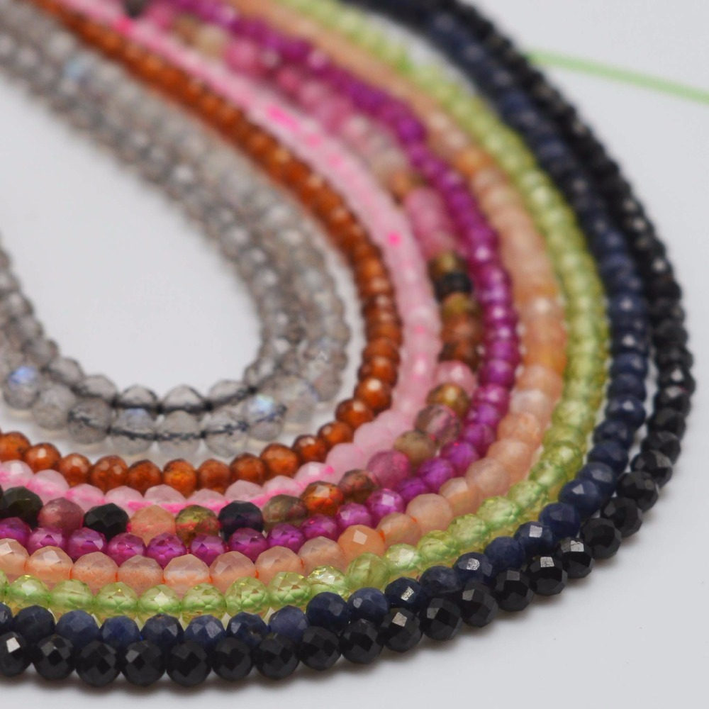 US $3 04 12% OFF|Natural Semi Precious Stone Small Faceted Round Beads  2~2 5mm Spinel,Tourmaline,Ruby,Sapphire,Garnet,Brown Rutilated Quartz-in  Beads