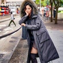 ARTKA 2018 Neue Stadt Serie Frauen Winter Waschbären pelz Kragen medium Lange Parker militär uniform Ente Unten Mantel Jacke JY17033