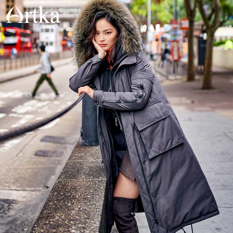 ARTKA 2018 New City Series Women Winter Raccoon fur Collar medium Long Parker military uniform Duck Down Coat Jacket JY17033