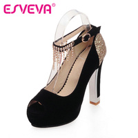 ESVEVA Size 11 12 Tassel Women Party Shoes Ladies Peep Toe Platform Wedding Shoes Summer Ankle