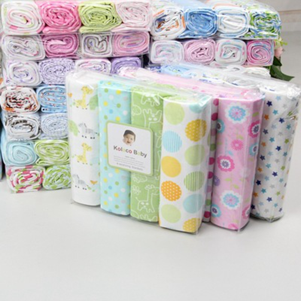4pcs/lot New 100% cotton flannel blanket & Swaddling newborn colorful cobertor soft baby bedsheet bedding set receiving blanket ...