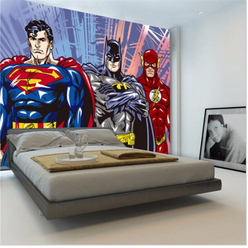 Custom any size 3D wall Mural Batman Superman Photo Wallpaper Boys Kids  Bedroom Living Room Home. Custom any size 3D wall Mural Batman Superman Photo Wallpaper Boys
