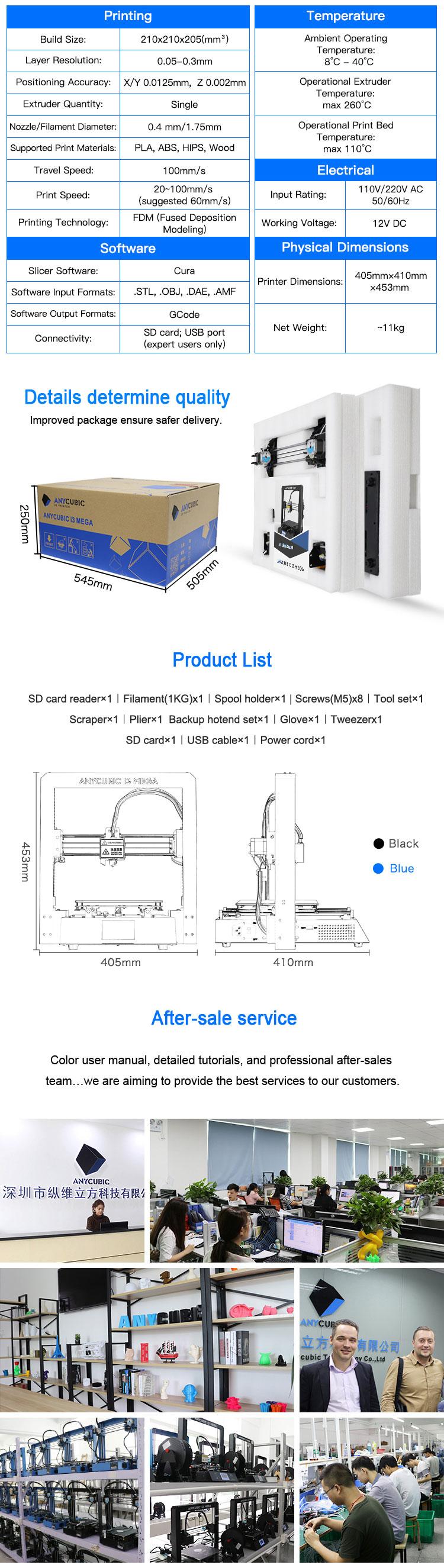 Anycubic 3D printer impresora 3d I3 Mega full metal imprimante 3d High Precision Patented Lattice Platform 3d printer kit (1)