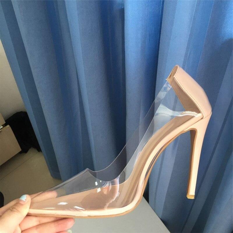 Size 44 Sexy Pvc Clear Women Pumps Pointed Toe Slip On Transparent Bride shoes Women Stiletto High heel Pump 10cm Shoes Woman - 5