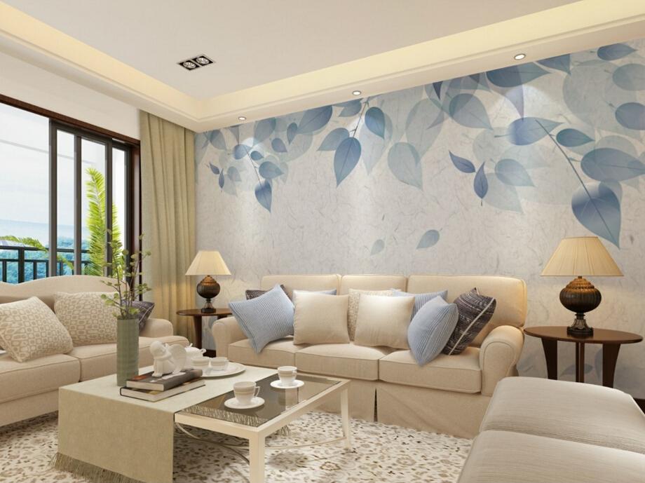 Blau Blumentapete-kaufen Billigblau Blumentapete Partien Aus China ... Wohnzimmerwand Blau