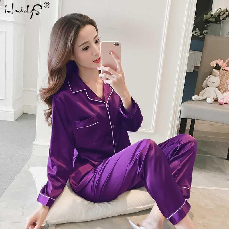 Womens Silk Satin Pajamas Pyjamas Set Long Sleeve Sleepwear Pijama Pajamas  Suit Female Sleep Two Piece df4c9d280