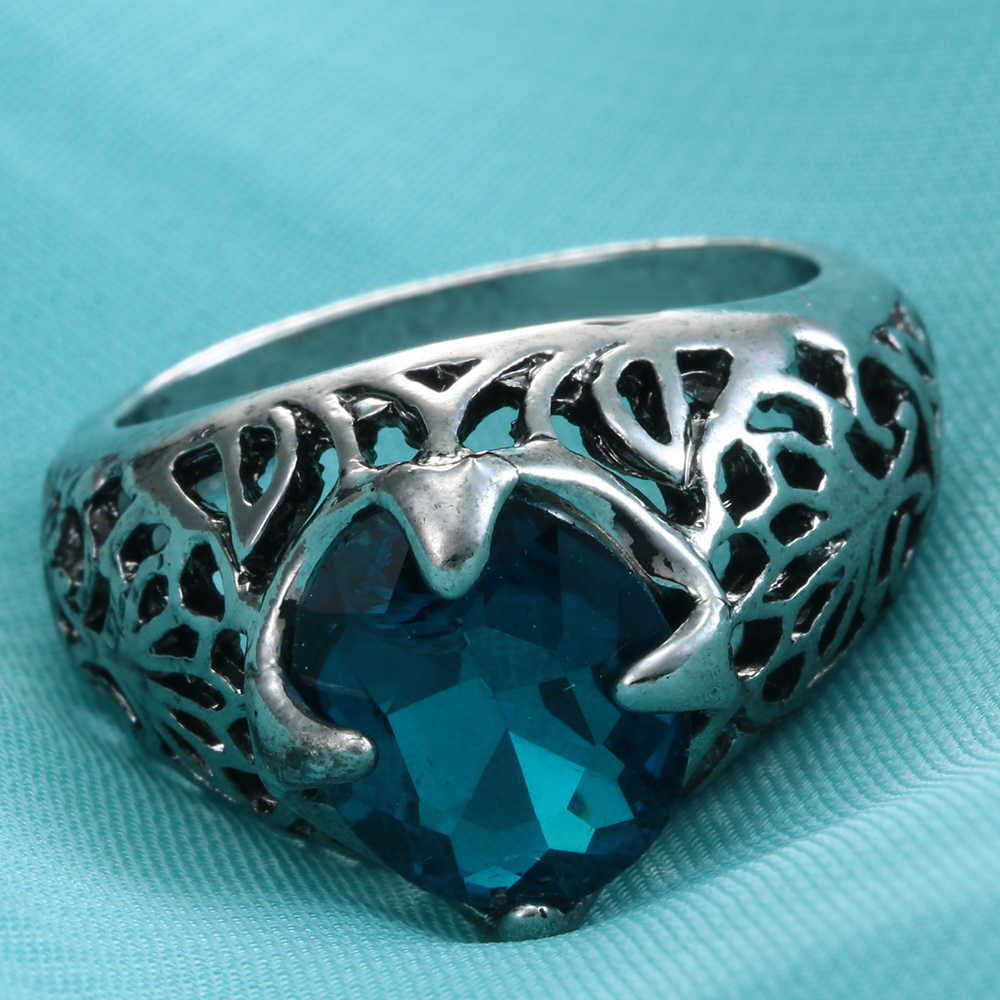 כחול רויאל מפלגה מתנות הכחול קריסטל תכשיטי טבעת נישואים לנשים Desgin 2017 טבעות חדשות אנטי מצופה כסף פאנק טבעות דגם