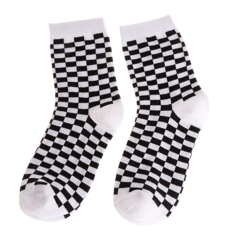 Fashion Trends Men   Socks   Checkerboard Geometric Checkered Men Women Cotton   Socks   Black White