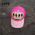 women  autumn PINK CROWN cotton denimN baseball caps gilrs  diamond bling bling snapback hat