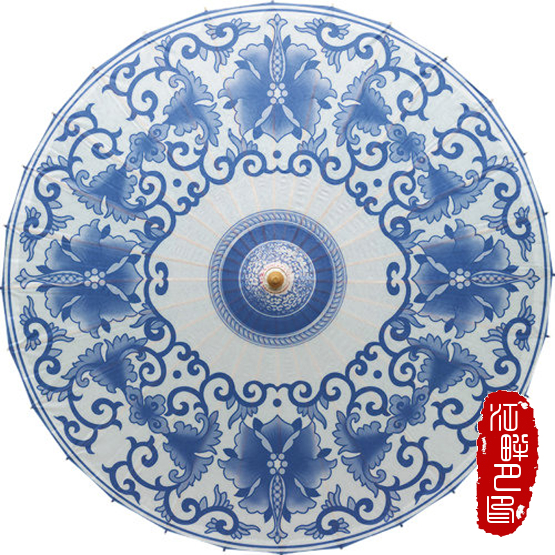 Chinese Blue and White Flower Paper Umbrella Women Traditional Dance Parasol Japanese Oil Paper Props paraguas