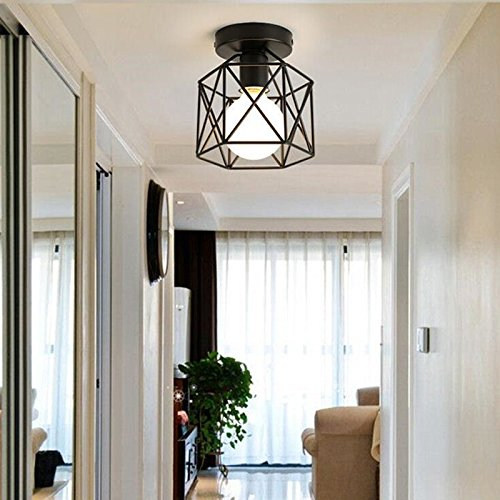 Retro Industrial Metal Ceiling Light Black Cage, Square Iron Lamp suspension light fixture for hallway
