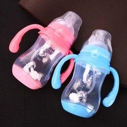 Tamanho 180 ml/240 ml/320 ml da garrafa do bebê da anti-flatulência com detecção da temperatura garrafa larga do bebê da boca dos pp com capa de poeira