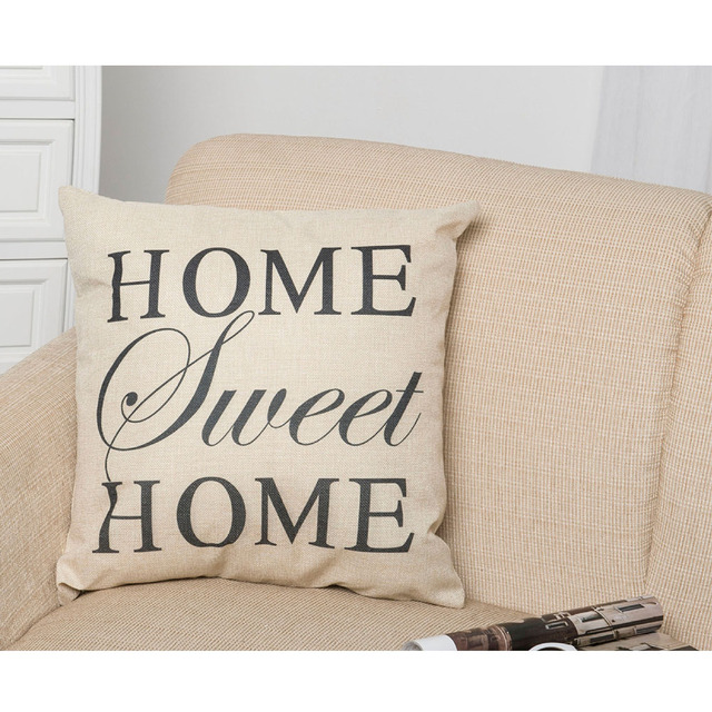 Home sweet home Letter Print Home Cotton Linen Letter Sunshine Throw Pillow Case cover 45x45cm PillowCase(Without Pillow)