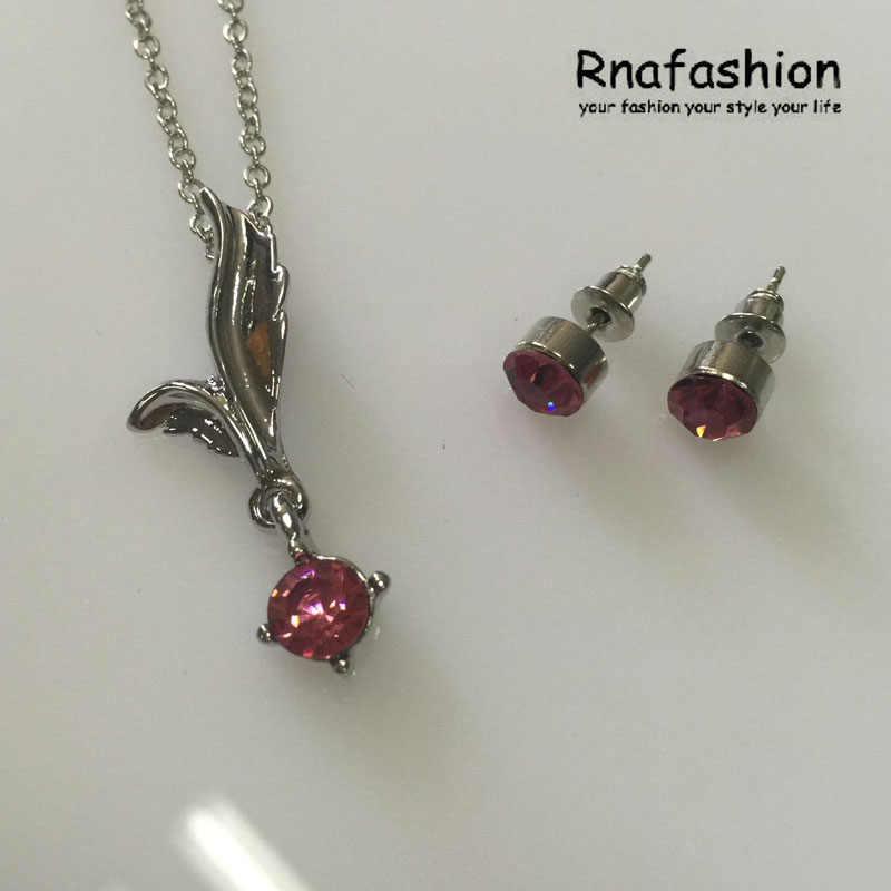Einfache Mode österreichischen kristall Schmuck Set Trendy Jewerly Fee Engel flügel Anhänger Halskette Schmuck