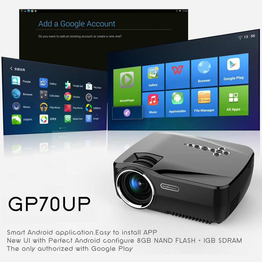 GP70UP Built-in Android 4.4 Bluetooth Smart Wireless Wifi Home Theatre HD LED Video 1080P TV 3D Cinema Projector